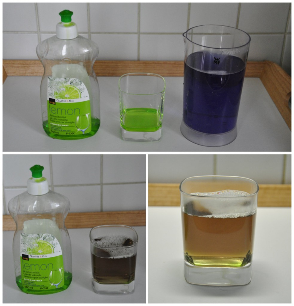 jus de chourouge mélangé avec produit vaisselle