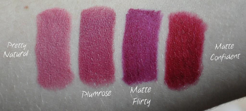rouge à lèvres lipstick milani pretty natural plumrose matte flirty matte confident swatch