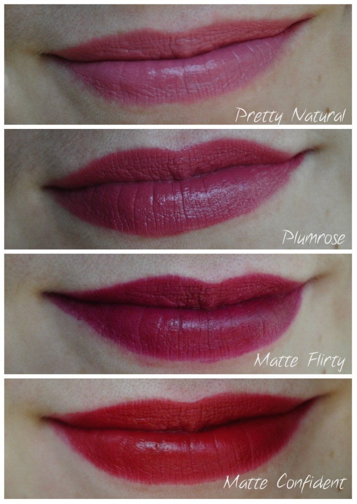 rouges à lèvres milani swatch plurose pretty natural matte flirty matte confident