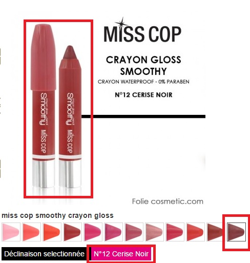 crayon gloss smoothy miss cop foliecosmetic teinte 12 cerise noire