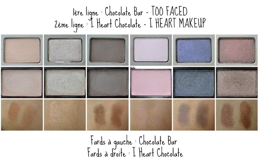 deuxième_rangée_swatches_chocolate bar_dupe_i heart chocolate_comparaison_reglisse et myrtilles
