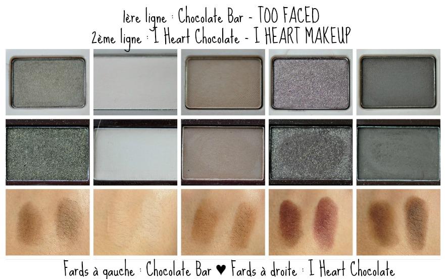 première_rangée_swatches_chocolate bar_dupe_i heart chocolate_comparaison_reglisse et myrtilles