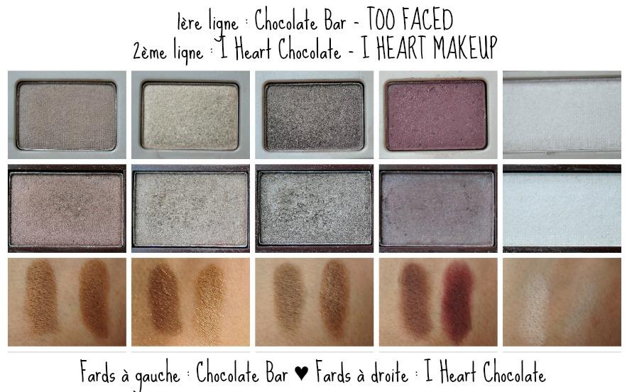 troisième_rangée_swatches_chocolate bar_dupe_i heart chocolate_comparaison_reglisse et myrtilles