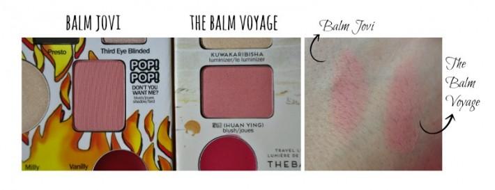 différence palettes the balm voyage balm jovi blush