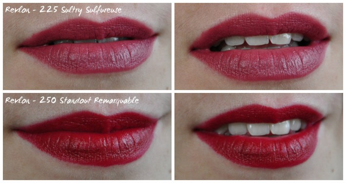 revlon lipstick swatches rouge à lèvres_225 sultry sulfureuse_250 standout remarquable