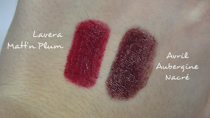 swatches rouge à lèvres bio avril et lavera