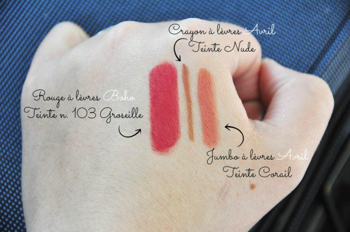 swatches rouges à lèvres et crayon à lèvres avril et boho