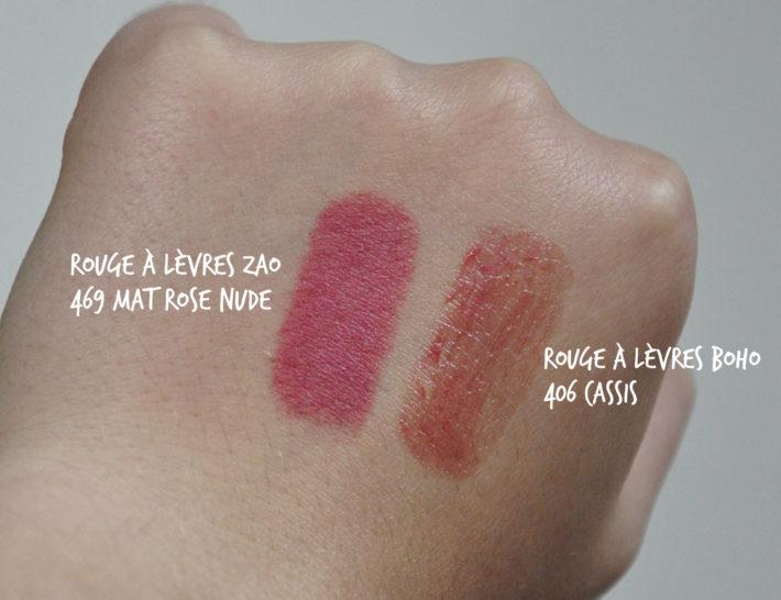 rouge à lèvres boho 406_rouge à lèvres zao 469_swatch