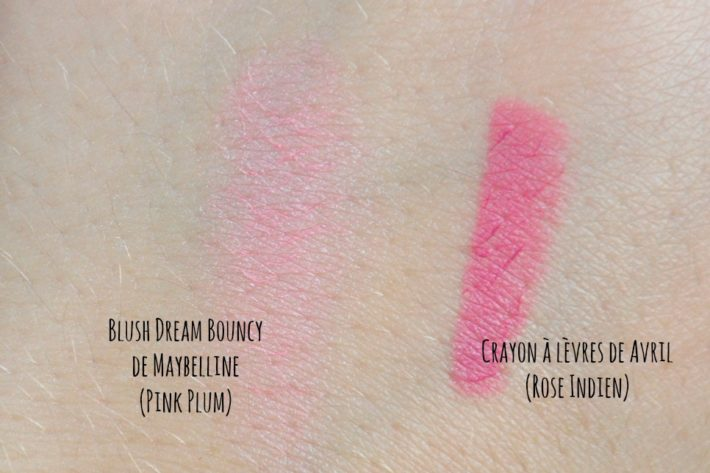 dream_bouny_blush_maybelline_pink_plum_crayon_lèvres_avril_rose_indien_swatch